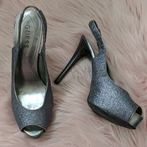 "Silver GUESS Sling-back 5"" Heels - Size 8"